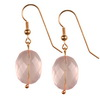 Rose Quartz Faceted Oval Sterling Silver 20x15 mm Earrings
