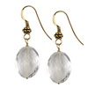Rock Crystal Faceted Oval Sterling Silver 16x12 mm Earrings