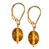 Golden Citrine Faceted Oval Drop Silver 12x10 mm Earrings