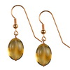 Golden Citrine Oval Drop Sterling Silver 16x12 mm Earrings