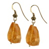 Golden Citrine Faceted Nugget  Silver 18x13 mm Earrings