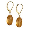 Golden Citrine Faceted Nugget  Silver 14x10 mm Earrings
