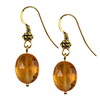 Golden Citrine Faceted Flat Oval  Silver 12x10 mm Earrings
