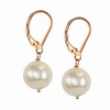 Cultured white Pearl 12x10 mm Oval Sterling Silver Earrings