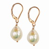 Cultured white Pearl 8x6 mm Oval Sterling Silver Earrings
