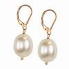 Cultured white Pearl 10x8 mm Oval Sterling Silver Earrings