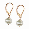 Cultured Fancy Flat Pearl 12mm Sterling Silver Earrings