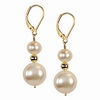 Cultured white Pearl Oval 10x8 mm Sterling Silver Earrings