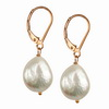 Cultured Pearl 10x8 mm Oval Sterling Silver Earrings