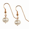 white Pearl Round Sterling Silver 8 mm Earrings