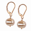 Golden Cultured Pearl Round Sterling Silver 10 mm Earrings