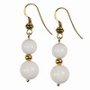 White Agate Round Sterling Silver Earrings