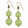 Lemon Green Agate Round Sterling Silver Earrings