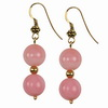 Pink Opal Round Sterling Silver Earrings