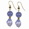 Blue Chalcedony Round and Faceted Oval Sterling Silver Earrings