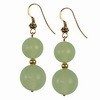 Green Chalcedony Round Sterling Silver Earrings