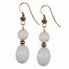 White Agate Oval and Round Sterling Silver Earrings