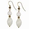 White Agate Faceted Oval and Round Sterling Silver Earrings