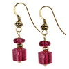 Rubelite Tourmaline Trillion Flat Sterling Silver Earrings