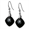 Black Onyx Cushion Checker Board Cut Briolette Silver Earrings