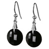 Black Onyx Round Checker Board Cut Briolette Silver Earrings