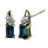 5x3 mm Created Blue Sapphire Earrings in 10K Yellow Gold