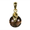 Smoky Quartz Round Checker Board Cut Briolette Silver Pendant