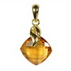 Golden Citrine Cushion Checker Board Cut Briolette Silver Pendan