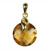 Golden Citrine Round Checker Board Cut Briolette Silver Pendant
