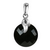 Black Onyx Round Checker Board Cut Briolette Silver Pendant