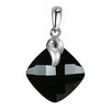 Black Onyx Cushion Checker Board Cut Briolette Silver Pendant