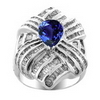5.33 Carats Tanzanite I1-I2 Diamond Ring in 14k White Gold