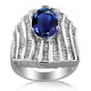 6.10 Carats Tanzanite Diamond Ring in 14k White Gold