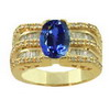 3 Carats Tanzanite Diamond Ring in 14K Yellow Gold