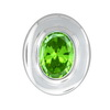 Synthetic Peridot Oval Pendant in Sterling Silver