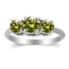 Three Stone Ring- 0.35 Carat  Diamond Ring 14K Gold
