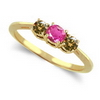 Three Stone Ring- 2 Carats Twt. Pink Sapphire Diamond Ring