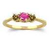 Three Stone Ring- 1 Carat Twt. Pink Sapphire Diamond Ring