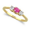 Three Stone Ring- 0.35 Carat Twt. Pink Sapphire Diamond Ring