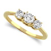 Three Stone Ring- 1 Carat Diamond Ring in 14K Gold