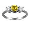 Three Stone Ring- 2 Carats Twt. Yellow Sapphire Diamond Ring