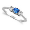 Three Stone Ring- 1 Carat Twt. Blue Sapphire Diamond Ring