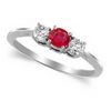 Three Stone Ring- 0.50 Carat Twt. Ruby Diamond Ring