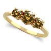 Three Stone Ring- 2 Carat Champagne Diamond Ring 14K Gold