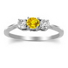 Three Stone Ring- 1 Carat Twt. Yellow Sapphire Diamond Ring