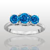 Three Stone Ring- 1 Carat Blue Diamond Ring in 14K Gold