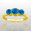 Three Stone Ring- 2 Carat Blue Diamond Ring in 14K Gold