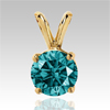 0.25 Cts. Blue Diamond Pendant in 14k Gold
