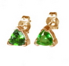 1 Carats Trillion Chrome Diopside Earrings in 14k Gold