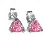 0.75 Carats Trillion Pink Sapphire Earrings in 14k Gold